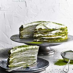 Matcha mille crêpe cake: This matcha mille crêpe cake looks really impressive but is also easy to make. Create this beautiful green tea inspired cake using layers of crepes and custard cream and dust with some matcha powder to finish