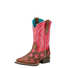 Ariat Kids Crossway Boot $149.95 Let your little one stand out from the crowd in these hot pink arrow design boots from Ariat.