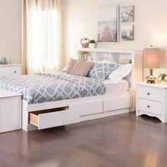 Prepac Monterey Queen Wood Storage Bed - The Home Depot - Trend Industrial Furniture 2019 Bedroom Sets, Bedroom Makeover, Bedroom Storage, Inexpensive Furniture, Bedroom Furniture, Small Room Bedroom, Bed Storage, Small Bedroom, Bed With Drawers