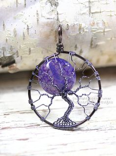 Blue Moon Tree of Life Pendant Fire Crack Agate in Gunmetal Wire by PhoenixFireDesigns, $55.00