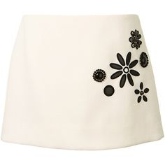 Marc Jacobs Embroidered Mini Skirt (5.995 RON) ❤ liked on Polyvore featuring skirts, mini skirts, saia, floral mini skirt, pink skirt, floral print skirt, floral printed skirt and mini skirt