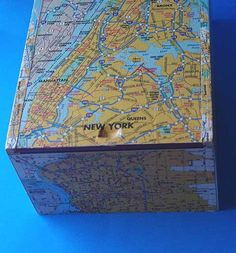 New York recycled map cigar boxtreasure box by HocusFocus on Etsy, $23.50