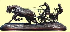 #Bronze #sculpture by #sculptor Jos� Miguel Franco de Sousa titled: 'Driving (Little Carriage Galloping Flat Out statuette)'. #Jos�MiguelFrancodeSousa