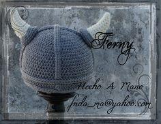 143 Vikingo para Marco / Marco's Viking  Crochet hat  Gorro a Crochet de Vikingo / Geek Crochet Hat  https://www.facebook.com/Ferny.HechoAMano/photos/pb.269222416525542.-2207520000.1423066866./682563458524767/?type=3&theater