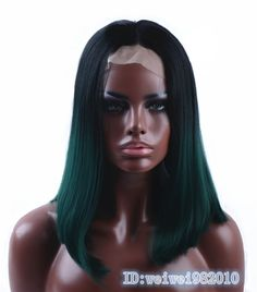 Wondrous Ombre Lace Front Synthetic Wig Long Straight Green Dark Root Heat Hairstyle Inspiration Daily Dogsangcom
