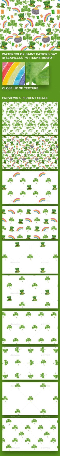 Buy 10 Saint Patrick's Day Watercolour Patterns by ElaineDettmann on GraphicRiver. Patrick's Day patterns with hand-painted watercolour elements including, Shamrocks, rainbows, lucky hat. Watercolor Pattern, Watercolour, Background Images Wallpapers, Backgrounds, St Patricks Day, Saint Patricks, Pot Of Gold, Background Patterns, Saints