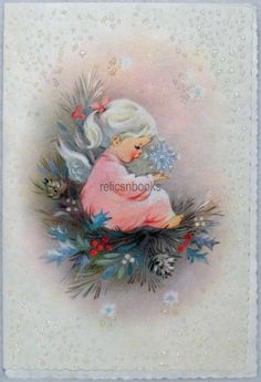 390 60s Glittered Angel Girl Snowflake Vintage Christmas Card Greeting | eBay
