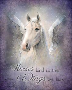 "HORSES lend us WINGS inspirational pegasus, winged white angel horse art print, 8"" x 10"""