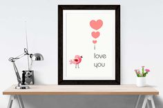 I love you  - valentines gift for him - Love bird - Can be personalised - Romantic gift - Wall Decor
