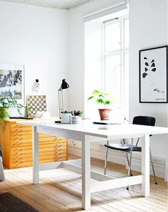 White minimalist work space