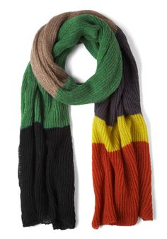 Stadium for Awhile Scarf - Multi, Knitted, Winter, Colorblocking