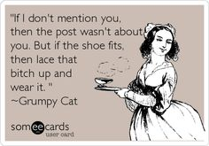 'If I don't mention you, then the post wasn't about you. But if the shoe fits, then lace that bitch up and wear it. ' ~Grumpy Cat.