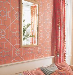 Winter blues?  How about some coral?  From Thibaut - Wallpaper