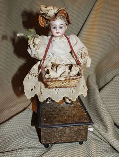 "Antique German c1890 Automaton ""hand crank"" by Zinner and Sohne ""Little Girl with Basket of Flowers"""