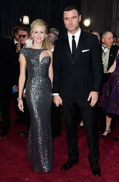 """Naomi Watts and Liev Schreiber arrive at the 85th Academy Awards - February 24, 2013.  Watts won her second Oscar nomination for her performance in """"The Happening""""."""