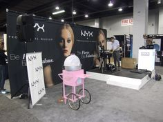 portable back wall, stage, pull up banner and cotton candy machine