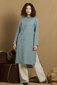 linen tunic dress in grey blue / linen tunic by camelliatune