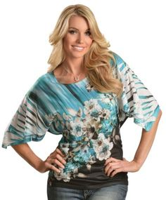 Panhandle Slim Floral Border Sublimation Print Kimono Top available at #Sheplers