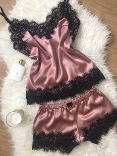 Sexy Lingerie Set Women Silk Lace Robe Babydoll Nightdress Nightgown  Sleepwear Outfits Clothes Set 2pcs Shorts 7e6ebd8c825