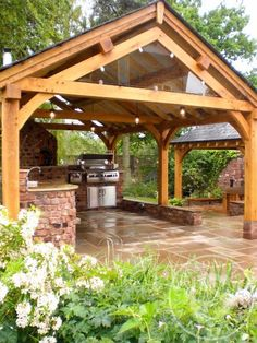 Pergola Against House Info: 7092811988 Backyard Pavilion, Outdoor Pavilion, Backyard Patio, Outside Living, Outdoor Living Areas, Outdoor Rooms, Bbq Outdoor Area, Outdoor Gazebos, Outdoor Shelters
