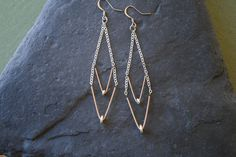 Double Chevron. Guitar String Earrings Copper and by BluceDesigns