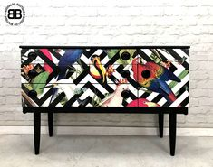 Stunning Professionally Upcycled MidCentury Sideboard TV Unit Geometric Aviary | eBay