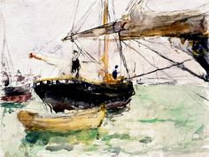 Before a Yacht, 1875, by Berthe Morisot  Watercolor over pencil on paper, 8 x 10 1/2 in
