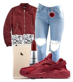 """-"" by honey-cocaine1972 ❤ liked on Polyvore featuring Topshop, Blue Nile, MAC Cosmetics, New Look and NIKE"