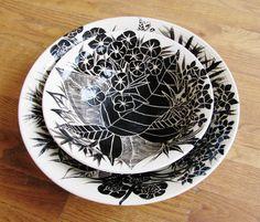 Black and White Hand Painted and Carved Ceramic Nesting Bowls, Set of 2, Original Floral Design via Etsy.