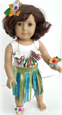 Make a hula costume for your American Girl doll.