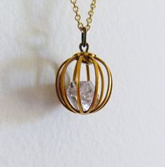 herkimer diamond orb necklace