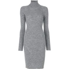 Dsquared2 turtleneck slim dress (13.460.350 IDR) ❤ liked on Polyvore featuring dresses, grey, mid length dresses, form fitting dresses, day to night dresses, grey long sleeve dress and grey turtleneck dress