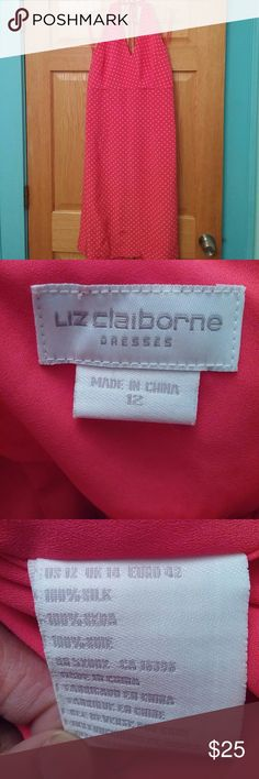 NWOT Silk Liz Claiborne pink polka dot dress Pink polka dot midi length halter silk dress. The only flaw is the zipper is open toward the top and won't zip down but can be repaired. The fourth shows the zipper issue. Liz Claiborne Dresses Midi