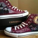 Terry Pratchett themed custom Converse - the witches, Rincewind and the suitcase hand painted onto burgundy high tops. I painted these for someone who's almost as big a fan as me...