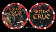Las Vegas Casino Chip of the day is a new $5 Hard Rock chip made up Motley Crue 2013 Residency coming up soon. You can order the $5 here http://www.all-chips.com/ChipDetail.php?ChipID=17067 You cab order then for only $8 plus shipping for a limited time.  These are real chips from the hard Rock