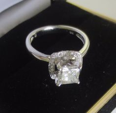 1.71ct Princess cut Genuine natural Diamond Engagement ring 14k solid white Gold #myforeverdiamond #SolitairewithAccents