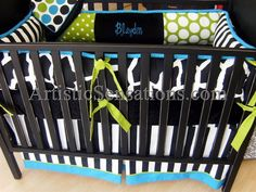 Aqua & Green Dots and Animal Print Blaydin Crib Bedding