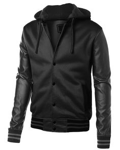 black baseball jacket with detachable hoodie for only $43.00 get it at http://www.coolblackattire.com/baseball-jacket-leather-sleeves-detachable-hood/