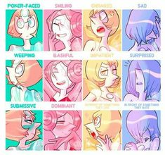 redid that expression meme with the whole squad! now you can appreciate Pink Pearl and Pearl's expressions, haha. Steven Universe Diamond, Steven Universe Oc, Steven Universe Wallpaper, Steven Universe Characters, Steven Universe Drawing, Universe Art, Steven Universe Moonstone, Steven Univese, Pearl Steven