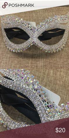 Silver ab rhinestone mask Mask Accessories