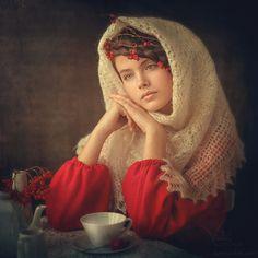 Untitled painting by Karina Kiel - girl wearing Orenburg lace shawl