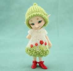 poppy fields - Hand knitted dress and hat set for fairyland Realpuki Tyni BJD