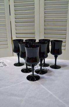 Vintage Black Wine Glass Set of 7 Amethyst Glass by PanchosPorch