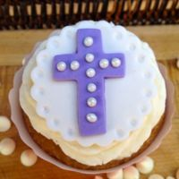 Fondant Cupcake Topper- Purple and White Cross - Includes 12 cupcake toppers
