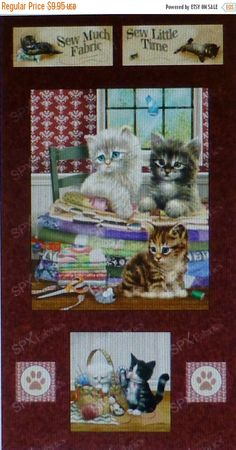 BLACK FRIDAY SALE Krafty Kittens Panel~ by Spx Fabrics~Cotton Fabric, Quilt, Home Decor~25876~Fast Shipping,N245