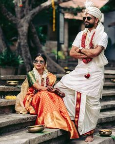 South Indian Couple Portraits That You Must Take Inspiration From! Indian Bride Poses, Indian Wedding Poses, Indian Wedding Couple Photography, Indian Bride And Groom, Indian Wedding Hairstyles, Indian Bridal Outfits, Punjabi Wedding, Bride Groom, Telugu Wedding