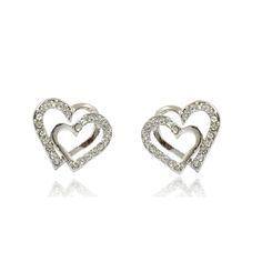 Нежни дамски обеци във форма на сърца с бели австрийски кристали и 18 карата бяло златно покритие. Код: BV106.