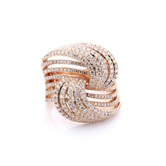 A stunning diamond threaded knot ring.This ring contains 1.58 carats of diamonds mounted in 18K rose gold. www.diamondsofmidland.com