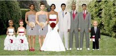 red, silver, and white wedding