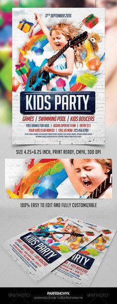 Kids Party Flyer Template  — PSD Template #joy #kids flyer • Download ➝…